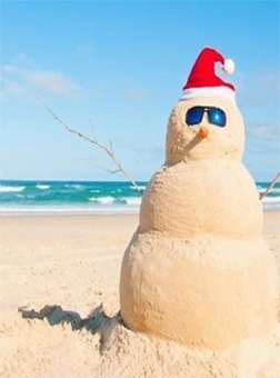 snowman made of sand